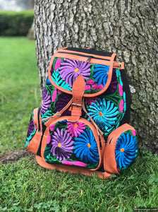 Multi Pocket Floral Black Backpack