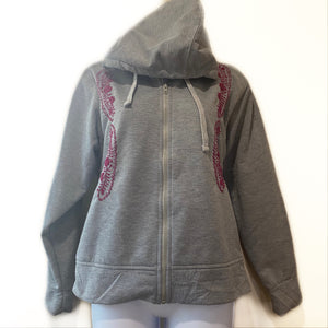 Grey Hand Embroidered Zipper Hoodie