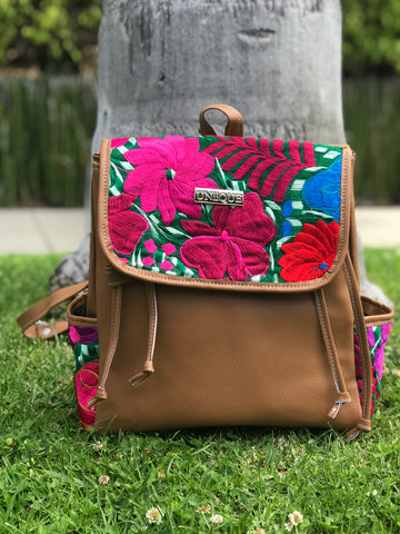 Floral Tan Backpack
