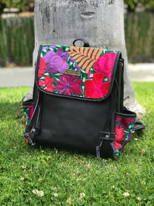 Black Floral Backpack