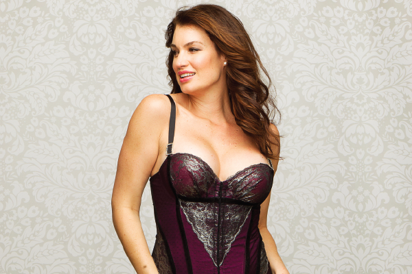 Curvy Couture Fall Holiday Curvysta Haven Platinum Lace Corset & Thong