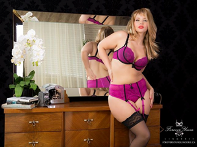 a707de67ce Shown above is the Curvy Couture cabaret lace plunge bra with matching  garter belt. If you are not the garter belt type