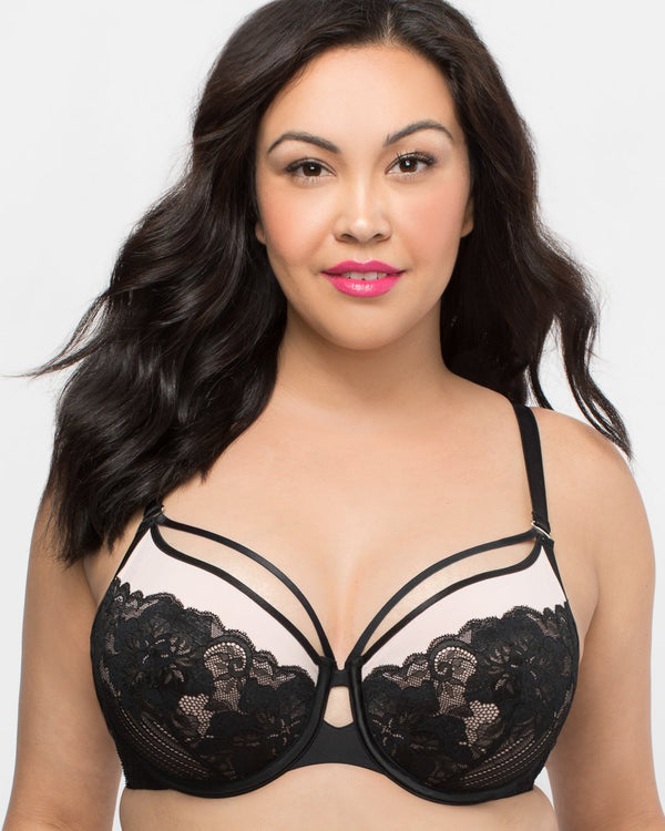 Tulip Strappy Lace Push Up - Black & Adobe Rose