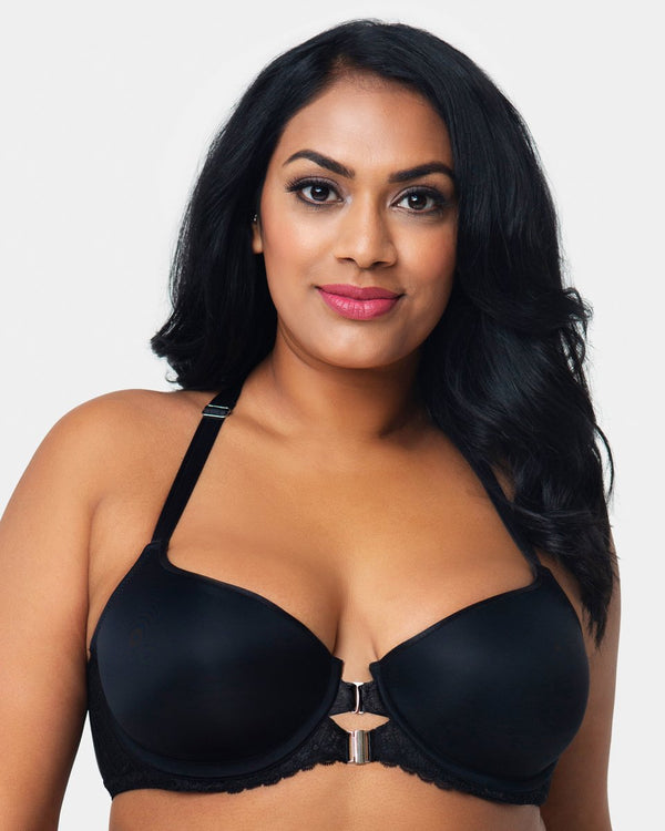 Tulip Lace Front Close T-shirt Bra - Black