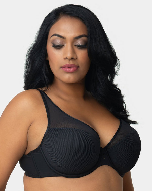 Diamond Net Full Coverage Plunge Bra - Black - Final Sale!