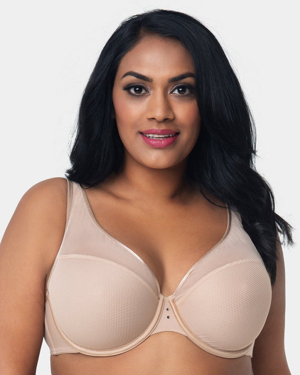 Diamond Net Full Coverage Plunge Bra - Champagne Nude