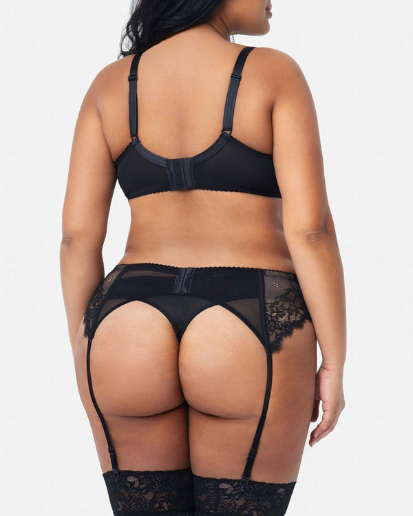 Eternal Eyelash Lace Garter Belt - Black - Final Sale! - Curvy Couture