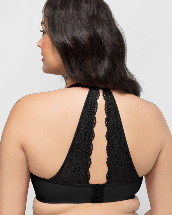 Crochet Lace Halter - Black - Curvy Couture
