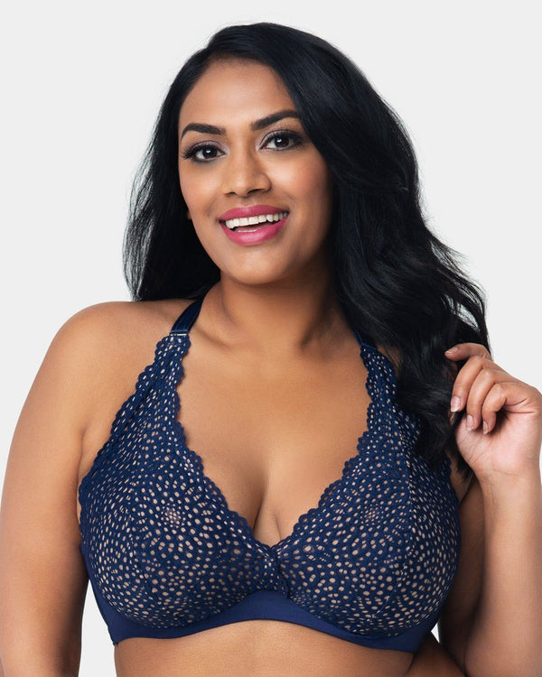 Crochet Lace Halter - Navy - Curvy Couture