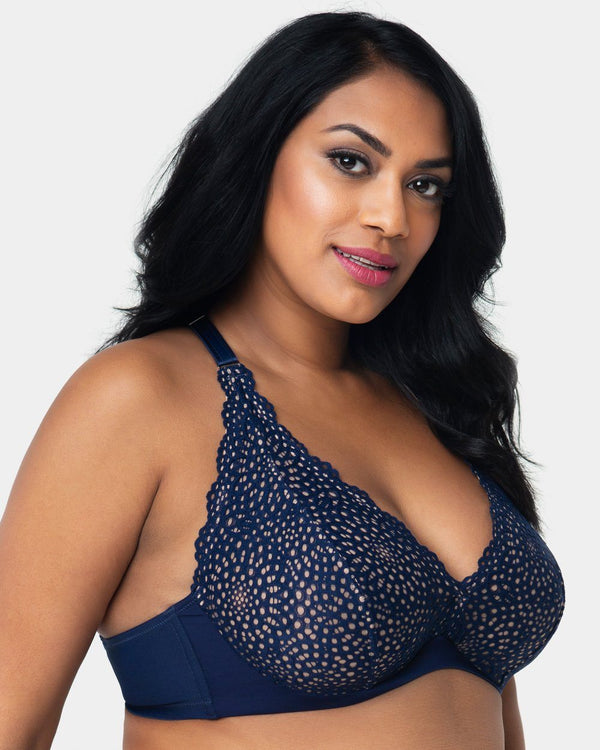 Crochet Lace Halter - Navy - Final Sale! - Curvy Couture