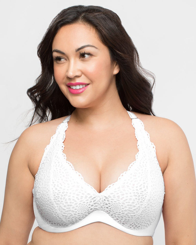Crochet Lace Halter - White - Curvy Couture