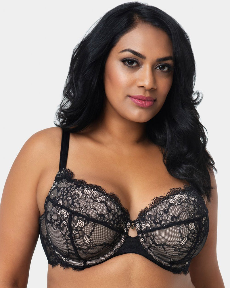 Eternal Eyelash Lace T-Shirt Bra - Black - Final Sale! - Curvy Couture