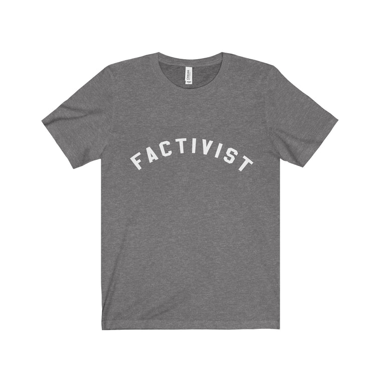 Factivist Jersey Short Sleeve Tee in Heather Grey & White (Unisex)