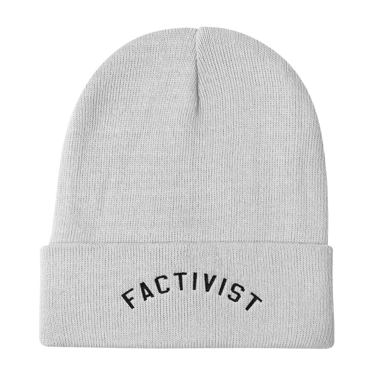 Factivist White Knit Beanie
