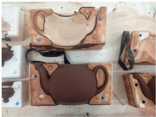Brown Betty Teapot by Cauldon Ceramics at casting stage