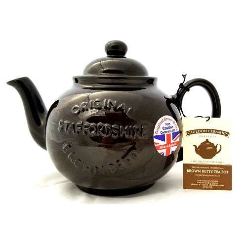 6 Cup Brown Betty Teapot in Rockingham Brown with Embossed Logo