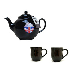 6 Cup Brown Betty Teapot with 2 Mugs