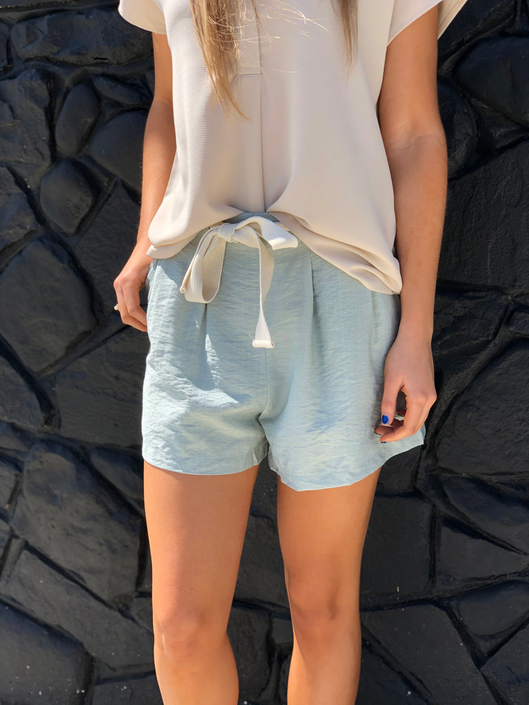 Chaney Mint Pleated Shorts