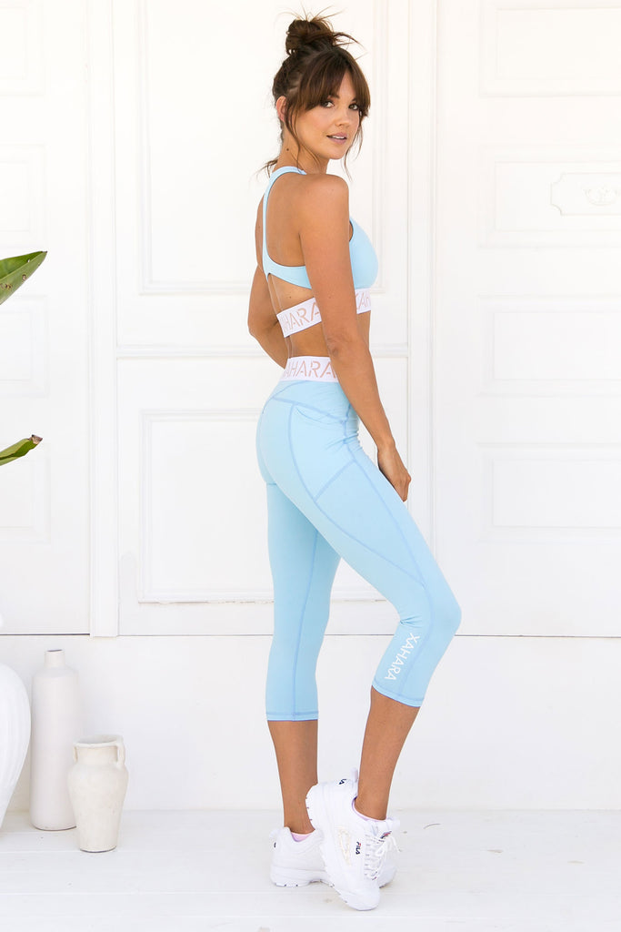 Paris 3/4 Legging - Powder Blue - Xahara Activewear
