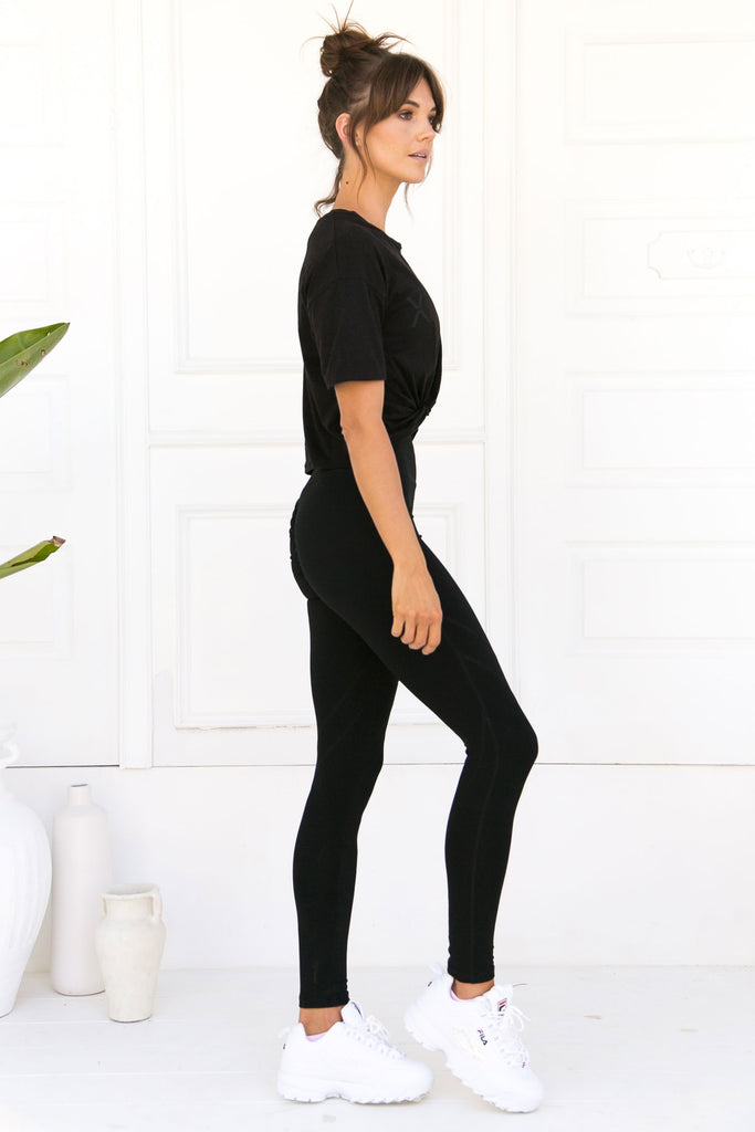 Bella Twist Crop Tee - Black Bamboo - Xahara Activewear
