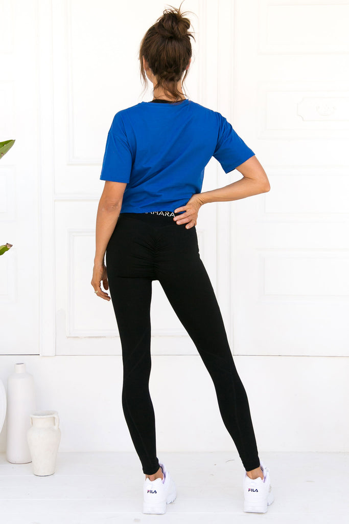 Bella Twist Crop Tee - Olympic Blue - Xahara Activewear