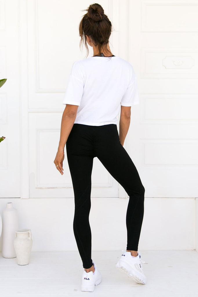Bella Twist Crop Tee - White Bamboo - Xahara Activewear