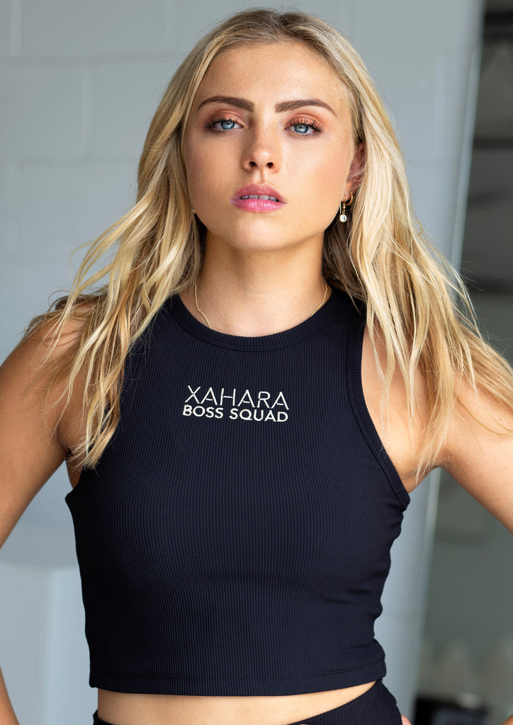 Luxe Black Ribbed Boss Squad Crop - Xahara Activewear