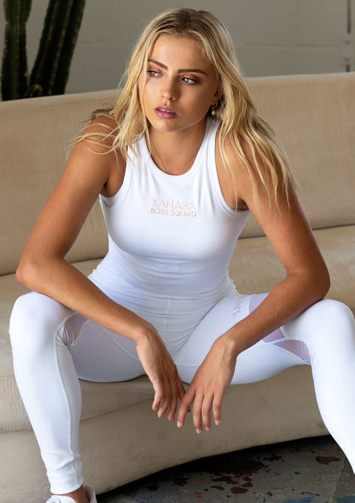 Luxe White Ribbed Boss Squad Crop - Xahara Activewear