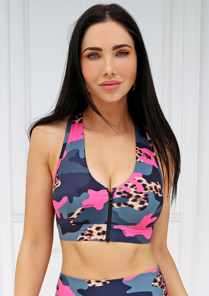 Knockout Leopard Camo Sports Bra - Xahara Activewear