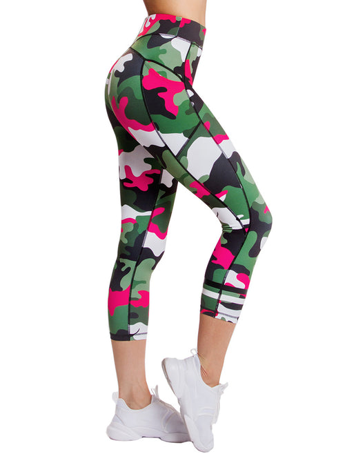 Phoenix Leggings, Army Print, Camo Print Leggings, 3/4 Leggings, Gym , Yoga, Pilates