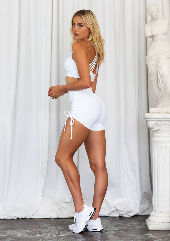 Flex Luxe White Ribbed Gym Booty Scrunch Short - Xahara Activewear