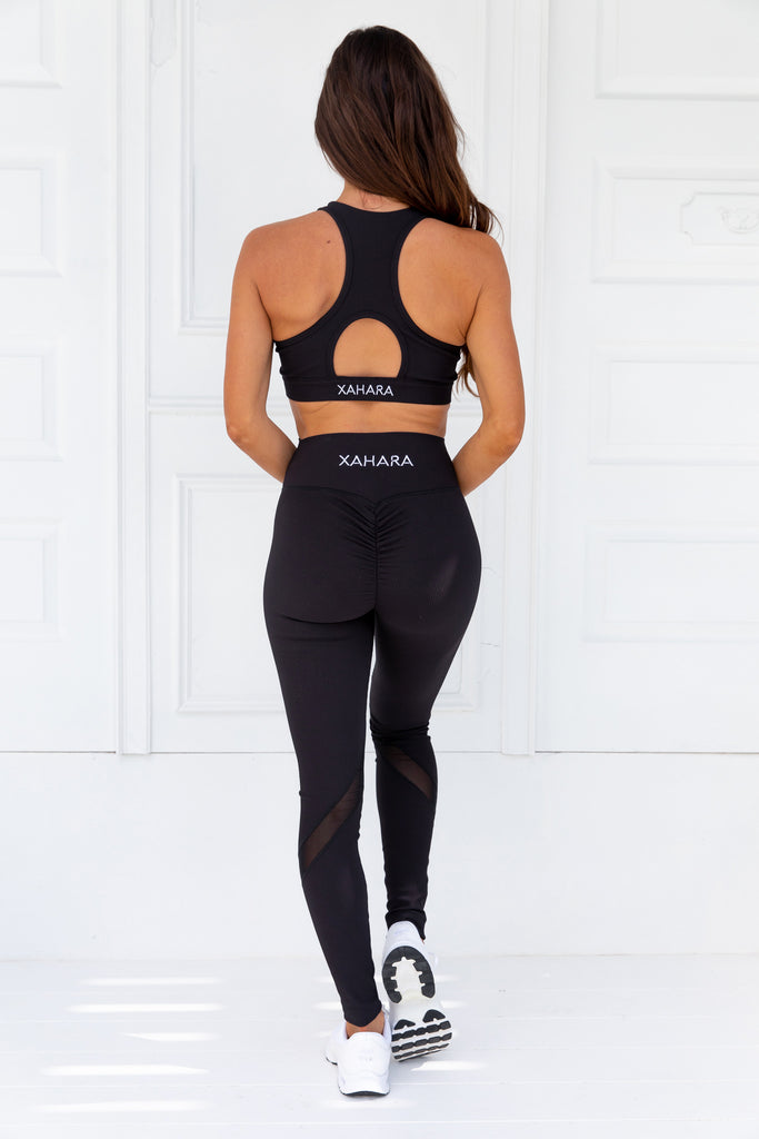 Knockout Black Ribbed Sports Bra - Xahara Activewear