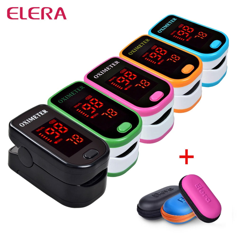 LED Finger Pulse Oximeter With Case