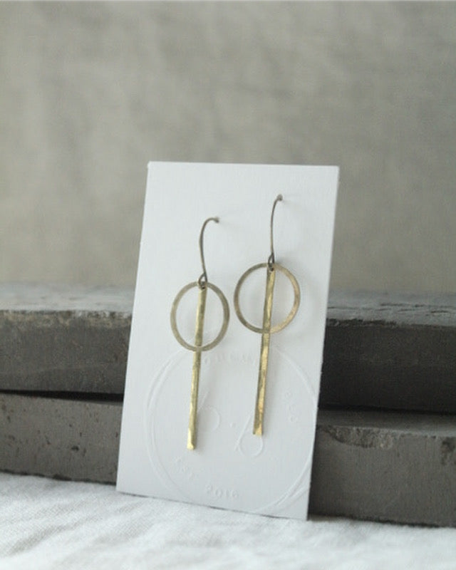 Brass Bar and Circle Earrings
