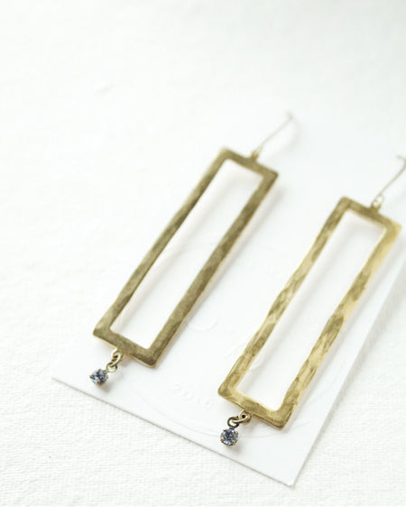 Blue Swarovski & Brass Earrings
