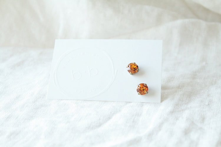 Orange Crystal Stud Earrings