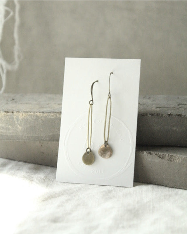 Brass Oblong and Disc Earrings