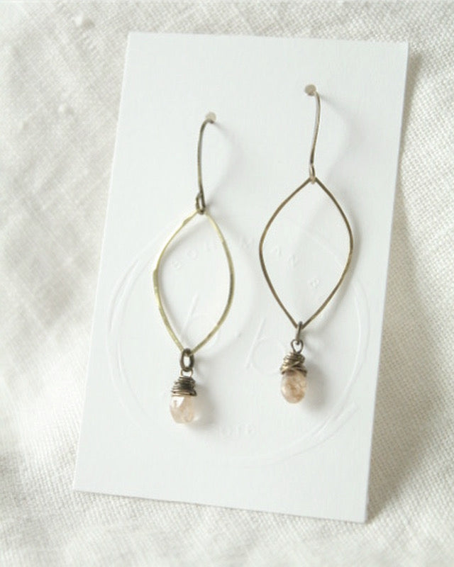 Champagne Zircon and Brass Earrings