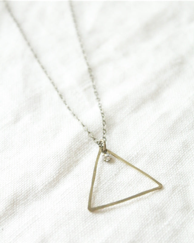 Clear Swarovski Crystal and Brass Triangle Necklace