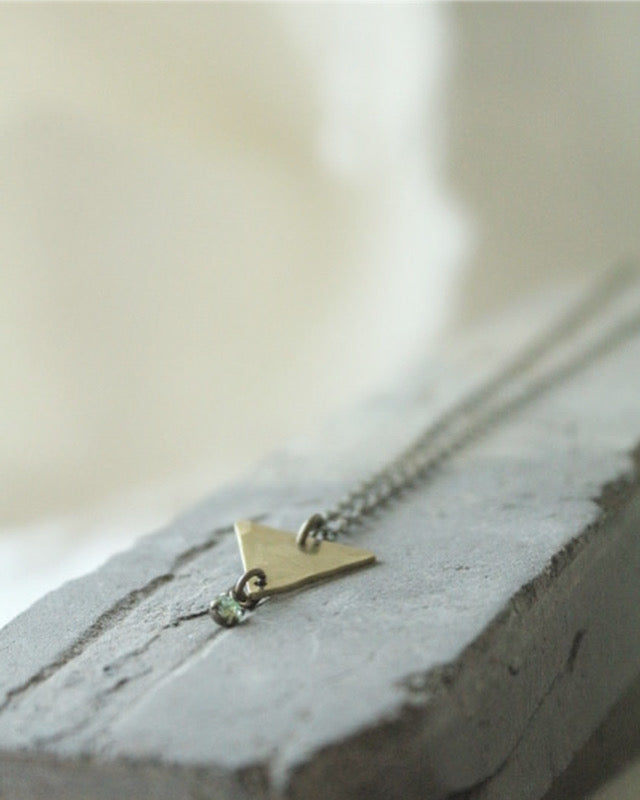 Mint Green Swarovski Crystal & Brass Necklace