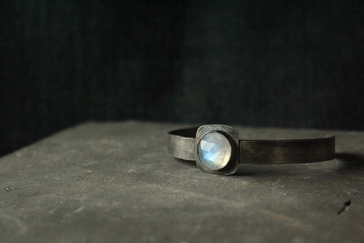 BL52 Sterling Silver and Moonstone Cuff