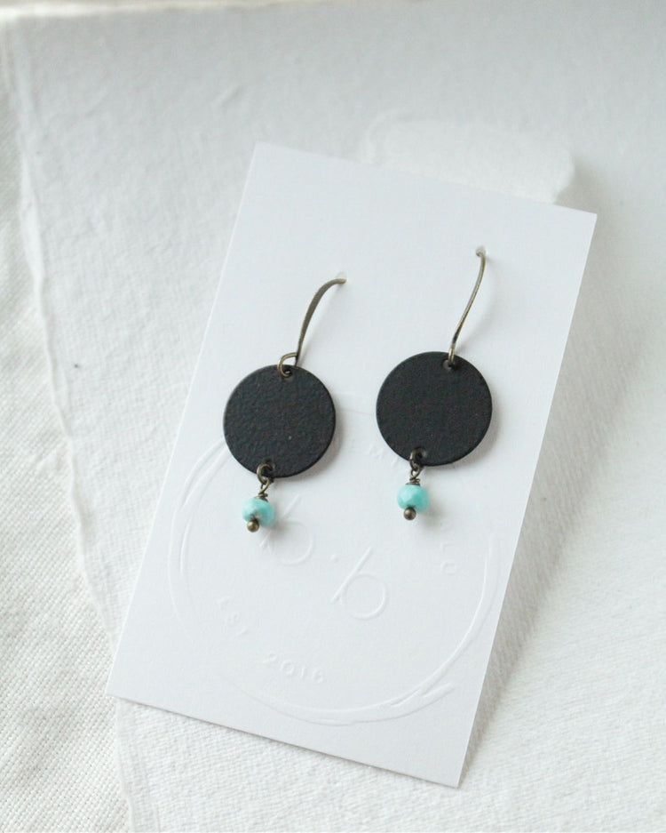 Turquoise & Black-Plated Brass Earrings