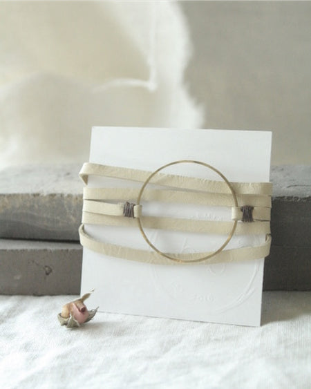 n1061 Leather and Brass Bracelet