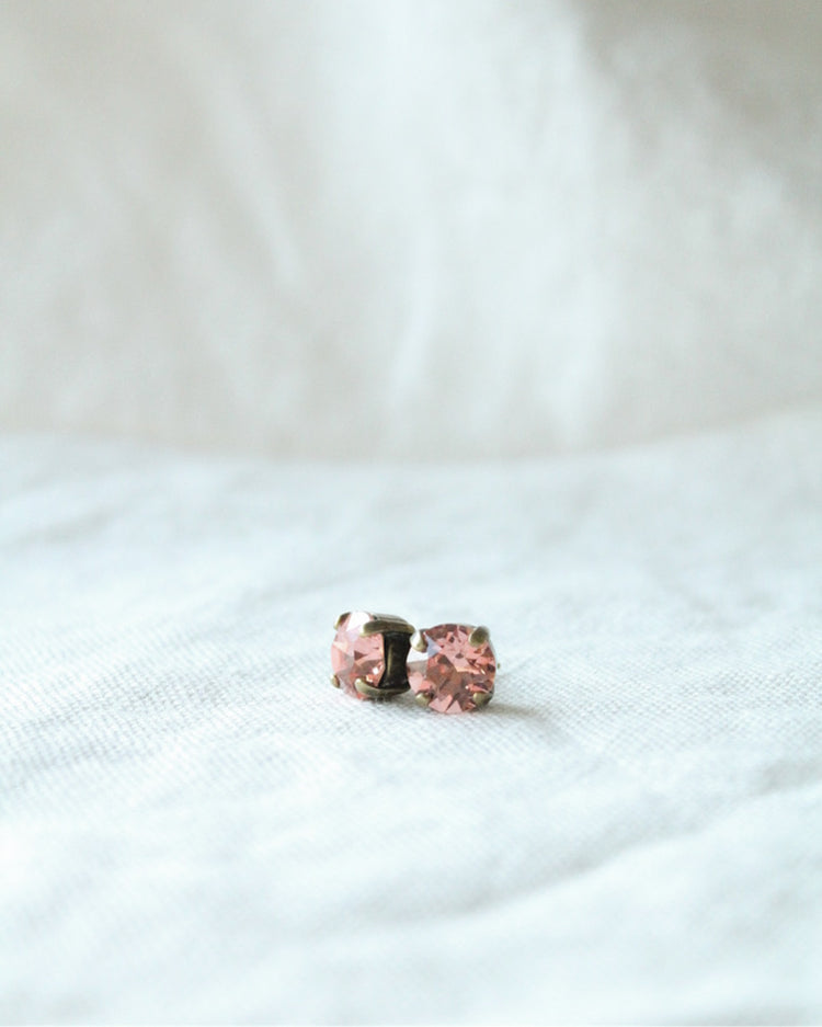 Padparadscha Crystal Stud Earrings