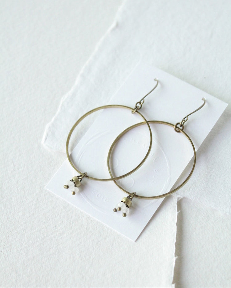 Moonstone & Brass Earrings