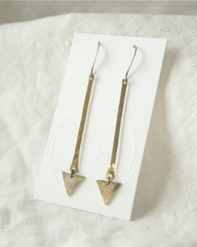 Brass Triangle and Bar Earrings