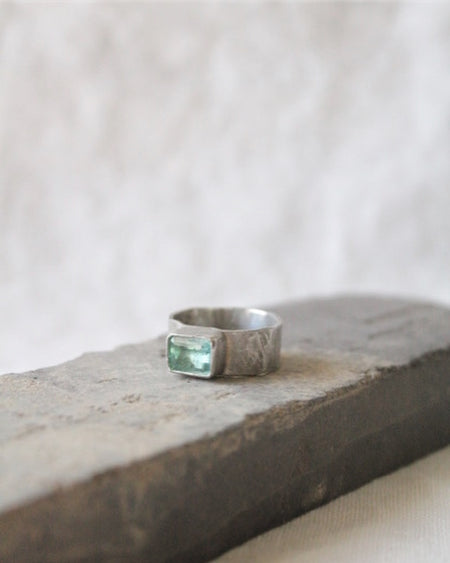 Green Tourmaline & Silver Ring
