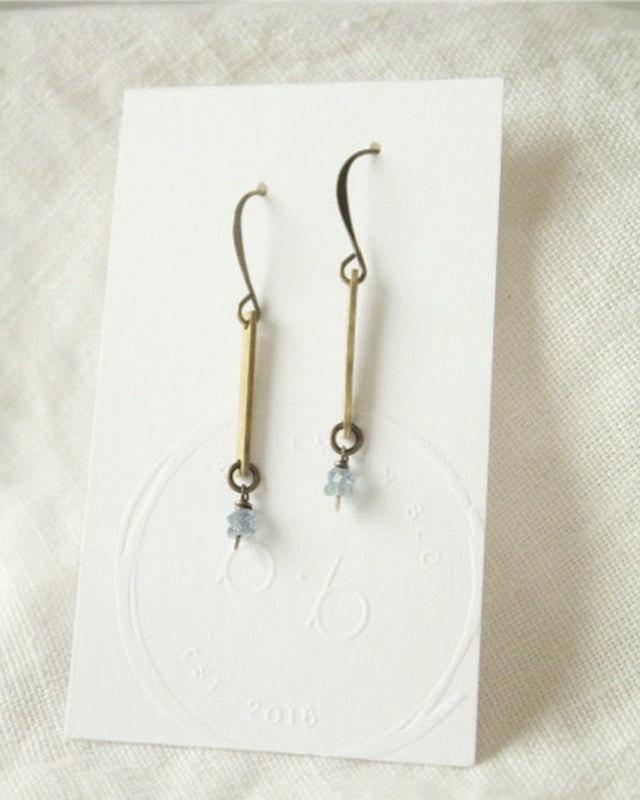 Blue Sapphire & Brass Earrings