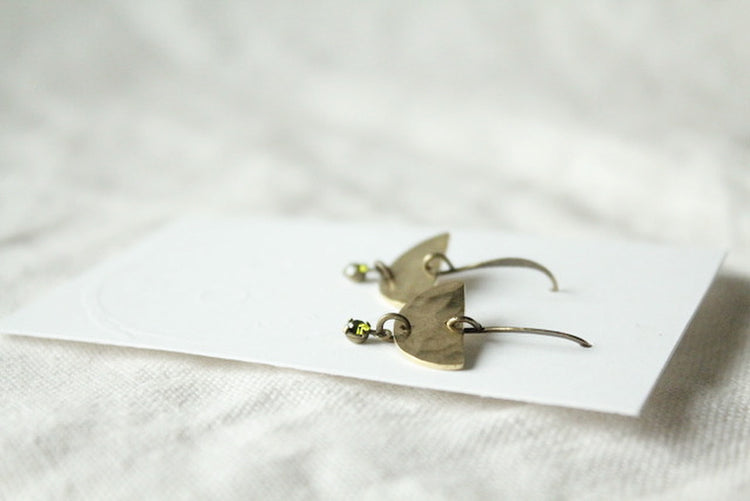 Olive Green Swarovski Crystal Earrings