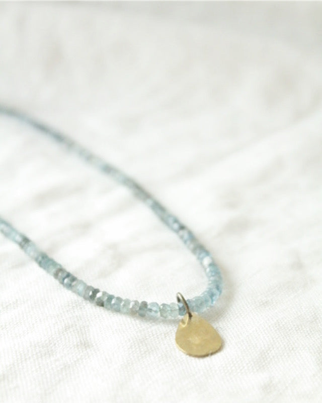 Aquamarine & Brass Necklace